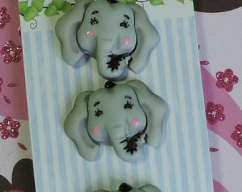 "SALE Elephant Buttons, ""Elsie The Elephant"", Carded Novelty Buttons, Bazooples Collection by Buttons Galore, Carded Set of 3"