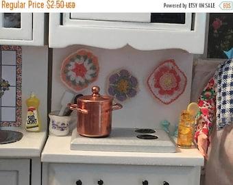 SALE Miniature Copper Pot, Small Copper Pot With Handles, Dollhouse Miniature, 1:12 Scale, Dollhouse Kitchen Decor, Accessory
