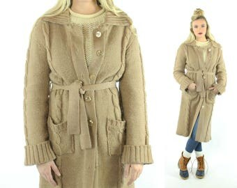 70s Long Cardigan Sweater Belted Wrap Tan Knit Vintage 1970s Medium M Mulitple Stitches Hippie Boho Preppy