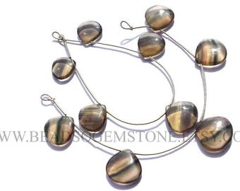 Semiprecious Beads, Fluorite Smooth Heart (Quality AA) / 16 to 20 mm / 18 cm / FL-035