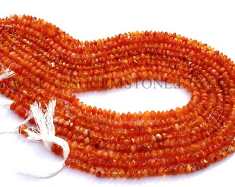 Natural Carnelian Rondelle Smooth Beads, (Quality B), 5.5 to 6.5 mm, 36 cm, CAR-106, Semiprecious Gemstone Beads