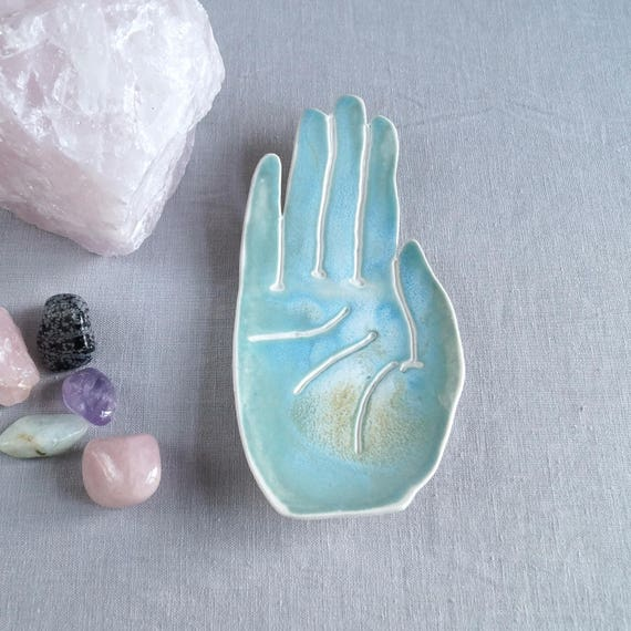 PALM ceramic dish life size turquoise aqua glaze porcelain palmistry hand ring holder jewellery bowl candle holder bathroom accessory