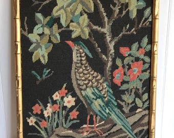 Vintage Large Mid Century Tropical Bird Needlepoint Wall Hanging