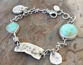 African Green Opal and Silver Bracelet with Flower Charm. Handmade Jewelry for Charity. BC10