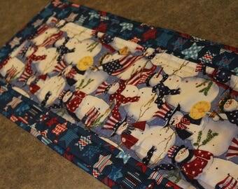 Blue Stars Patriotic Snowman Flags  32 1/2 X 12 Table Runner Topper