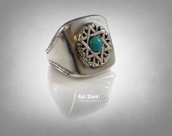 EZI ZINO Star of David magen david Turquoise Signet ring Sterling Silver 925