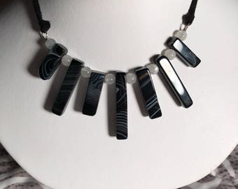 """16"""" black agate and moonstone necklace on black suede necklace"""