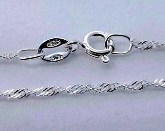 1 pc, 18 inch, 925 Sterling Silver Singapore Chain with Spring Clasp, 1.5mm - Made in Italy - NCF