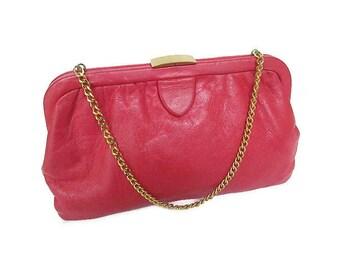 Ingber Red Leather Vintage Handbag - Vintage Clutch, Vintage Handbag, Ingber USA, Gold Chain, Vintage Accessories