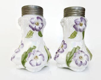 Westmoreland Glass Co Purple Cosmos Milk Glass Salt Pepper Shakers - Opaline Glass, Pansy, Purple Flowers, EAPG, Vintage Kitchen