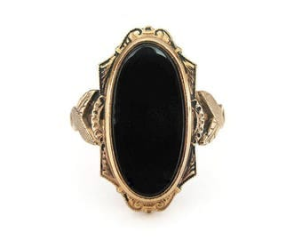 Clark and Coombs 10K Gold Filled Ring, Onyx Stone, Victorian Revival, Vintage Ring, Size 6.75