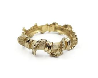 Monet Textured Gold Bangle Bracelet - Sculptural Vine, Hinged Bangle, 1980s Jewelry, Vintage Monet Bracelet, Millennial Jewelry