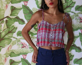 Bohemian Crop Top / Metallic Threaded Plaid Cotton Blouse / Summer Shirt / India Cotton Ethereal Cropped Blouse