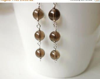 Summer Sale Minimalist stone earrings smoky quartz earrings women's silver earrings