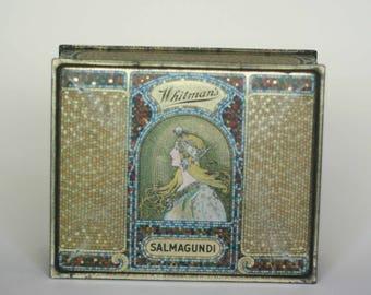 vintage whitman's candy tin box salmagundi art deco