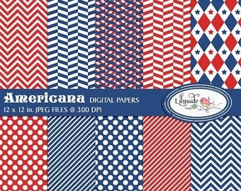 50%OFF Americana July 4th digital papers, Independence Day scrapbook paper, Americana digital papers, commercial use, P243