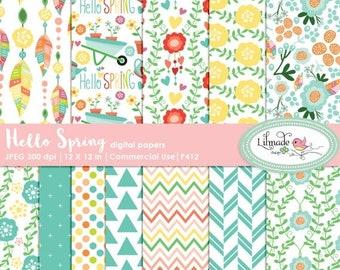 50%OFF Spring digital paper, Spring scrapbook paper, digital paper, patterned digital papers, Spring patterns, DIY Spring party, P412