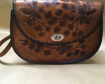 Tooled Leather Cowboy Style Purse--Western Handbag--Shoulder Bag