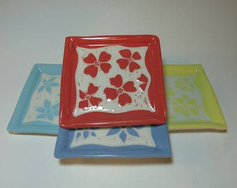 Sgrafitto 4 Coaster Set with Hand Carved Flowers - Handmade - in Stock