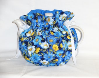 Pretty Spring Floral on Blue Reversible 6 Cup Teapot Cozy