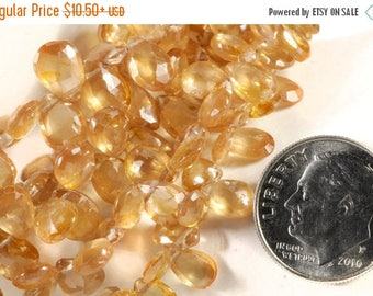 ON SALE Golden Zircon Beads Faceted Pear Briolettes Flat Teardrops  Earth Mined Gemstone - 7x5 to 8x5mm - Your Choice of Number of Beads