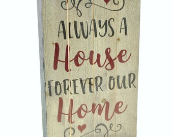 Always A House Forever Our Home Pallet Box Sign 6x10