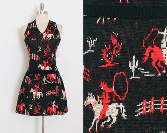 Vintage 60s Skirt Vest | vintage 1960s dress | cowboy cactus western set | xs/s/m | 5991