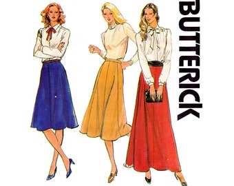 Butterick 3137 Womens Retro Gored Maxi Skirt 80s Vintage Sewing Pattern Plus Size Size 16 Waist 30 inches