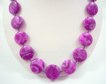 Fuchsia Crazy Lace Agate Necklace Gemstone Necklace Magenta Agate Necklace Agate Bead Necklace Fuchsia Agate Strand Purple Bead Necklace