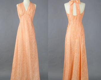 Vintage 1930s Evening Dress, 30s Dress, Peach Silk Moiré Dress, 1930s Gown, Old Hollywood