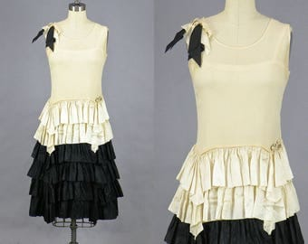 Vintage 1920s Dress, 20s Flapper Dress, Cream and Black Silk Roaring 20s Dress with Ruffled Skirt, Great Gatsby Dress