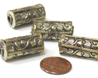 1 Bead - Ethnic Nepal beads cylinder tube shape Tibetan silver with brass repousse floral design bead-  BD967