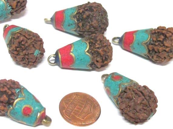 1 Pendant - Tibetan Nepal natural Rudraksha seed bead brass capped drop pendant - PM566