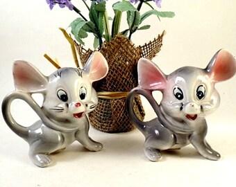 Vintage Japan MICE Mouse Salt and Pepper Shakers  Retro Ceramic Figural