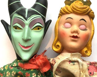 Vintage Sleeping Beauty and Malificnet Puppets