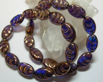 12 beads -  Czech Glass Cobalt Blue with Bronze Oval Grooved Beads 13x8mm