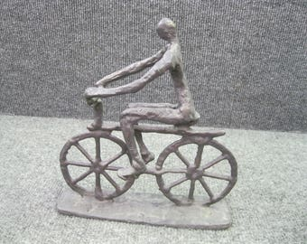 Metal Sculpture Statue Man Riding a Bicycle