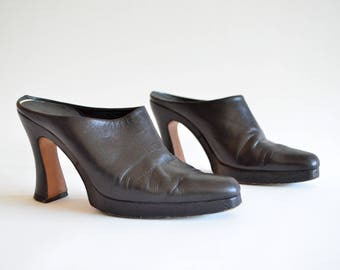 Vintage 1990s KALENA's leather mules / 7.5