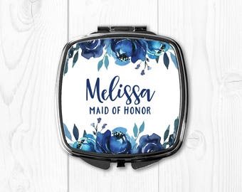 Maid of Honor Gift Sister Wedding Gift for Maid of Honor Personalized Compact Mirror Maid of Honor Gift Idea Purse Mirror Blue Floral Mirror