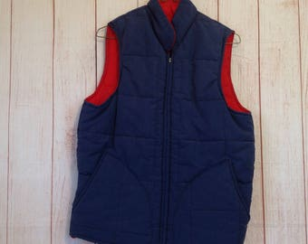Golden Fleece Navy Blue Quilted Puffy Zip Up Ski Vest Mens Small