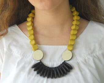 Beaded Statement Necklace, fan necklace yellow and black lightweight necklace, unique necklace for her handmade original jewelry