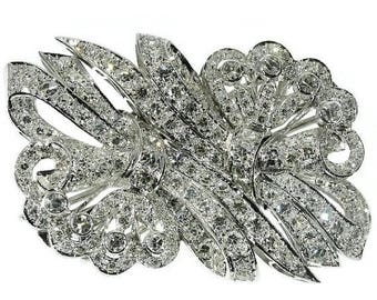 ON SALE A vintage double clip brooch circa 1950 platinum set single brilliant cut diamonds 4.80ct