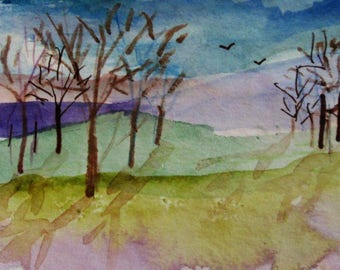 Landscape aceo artist trading card miniature watercolor painting Art by Delilah