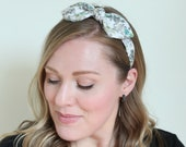 Adult Headband Floral Print Rockabilly Headband Wired Headband, Scarf Headband , Bow in White Floral Pinup Hair, Retro Headband, 50s Hair