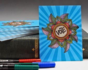 Postcards for Voters - Set of 60 - Voter Postcards - Get out the Vote - Postcards - 60 count - Political Postcard - Original Artwork