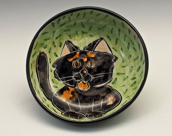Tortoiseshell Calico Cat Ceramic Feeding Dish - Shallow Bowl - Pet Food Water Bowl - Majolica Bowl, Handmade Pet Bowl - Dark Tortie Cat Bowl
