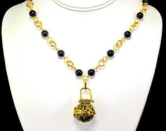 50% OFF - Aromatherapy Diffuser Necklace - Beautiful Gold Locket and Black Pearls - Wear your essential oils all day.