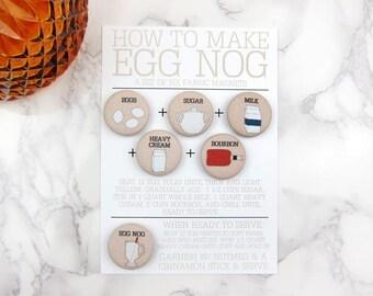 Egg Nog Cocktail Recipe Magnet Set by Megan McCrary