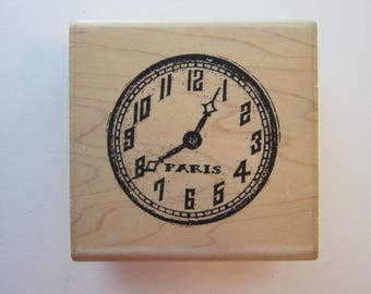 rubber stamp - PARIS clock face - Montre Time 2 Fly - Uptown Design Company