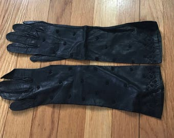 Black Vintage Gloves - Leather With Beading - Size Small Holiday Wear Dressy Retro 1950s Party Wear